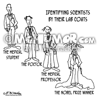 "Scientist Cartoon 0779: ""Identifying Scientists by their Lab Coats. ""The Medical Student,"" ""The Doctor,"" ""The Medical Professor"" and ""The Nobel Prize Winner."" Each has a longer coat; the prize winner's is a veritable train."
