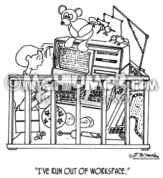 "Baby Cartoon 1350: A baby in a crowded crib with a computer, printer and toys says, ""I've run out of workspace."""