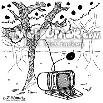 Computer Cartoon 1717: An apple from a tree falls on a computer beneath it.