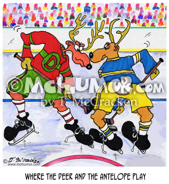 "Hockey Cartoon 5044: ""Where the Deer and the Antelope Play."" Animals are playing hockey."