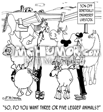 "Breeding Cartoon 7623: An animal breeder adverting ""50% off all genetically engineered livestock"" asks someone, ""So, do you want three or five legged animals?"""