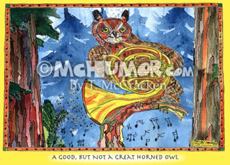Owl Cartoon 8011 (Horizontal)